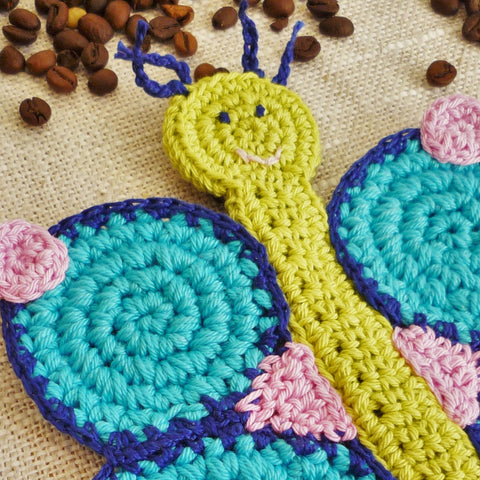 Blue Butterfly Crochet Coaster - Girls Room Decor