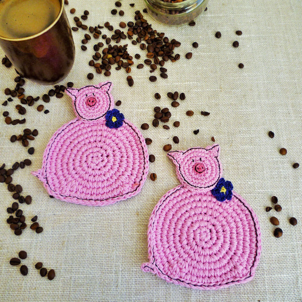 Pink Pig Crochet Coasters - Pig Kitchen Decor - MonikaCrochet