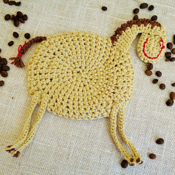 Horse Crochet Coasters - Horse Kitchen Decor - Monika Crochet
