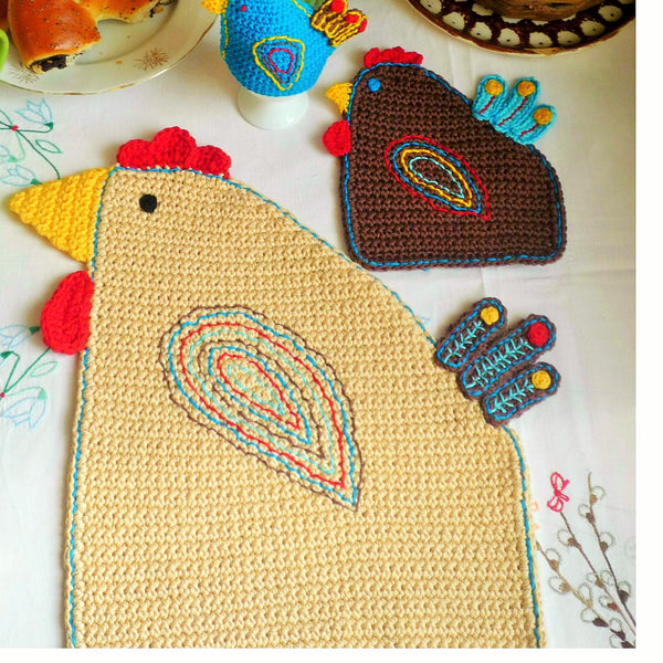 Crochet Hen Hot Pad Pattern