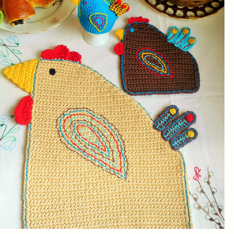Easter Hen Crochet Table Mat Pattern - MonikaCrochet