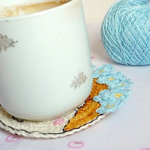 Blue Flower Girl Coaster - Coffee Table Decor