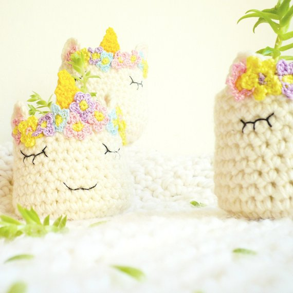 Unicorn Head Crochet Planter - Free Pattern