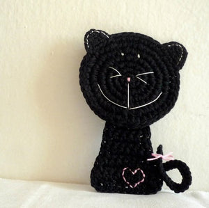 Black Cat Crochet Coaster by MonikaCrochet