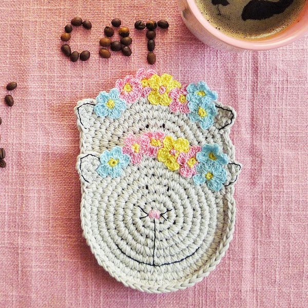 grey cat coaster