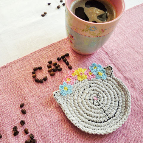 Crochet Cat Drink Coaster