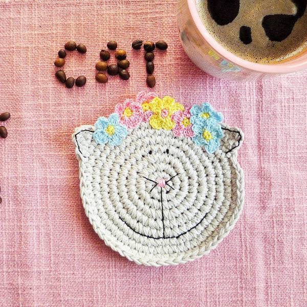 crochet coaster cat