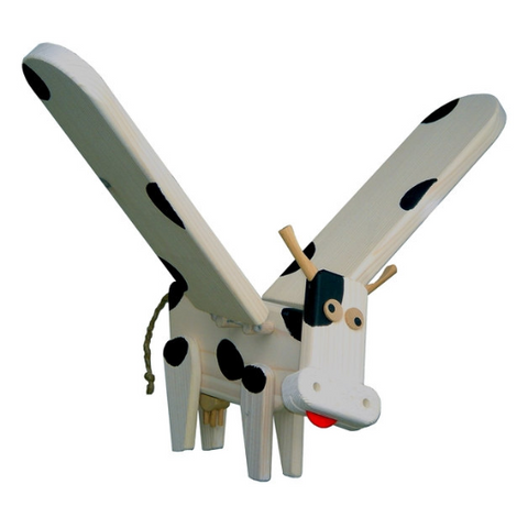 flying cow wooden mobile toy