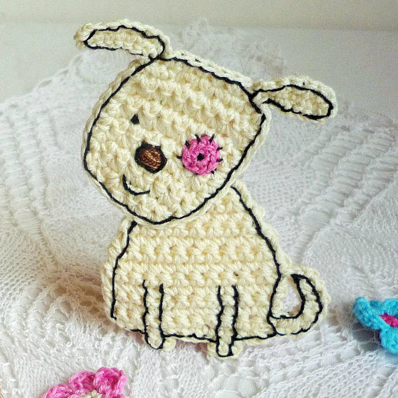 Crochet Dog Applique - Craft Embellishment