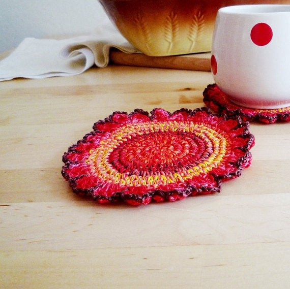 Autumn Flower Crochet Coasters