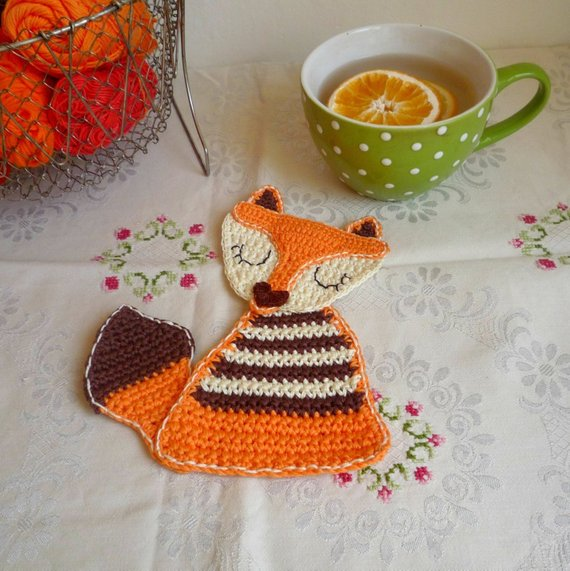 orange crochet fox coaster