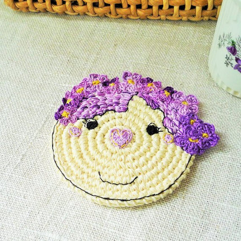 Lavender Flower Girl Coaster - Coffee Table Decor - Boho Decor