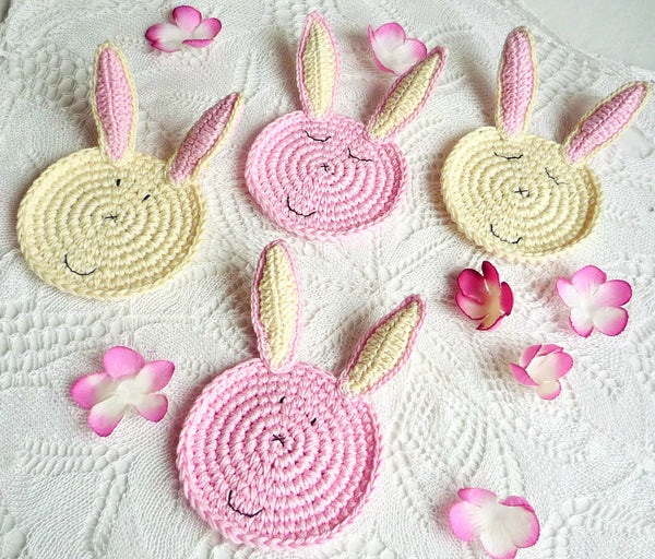Rabbit Crochet Coasters - Bunny Crochet Coasters