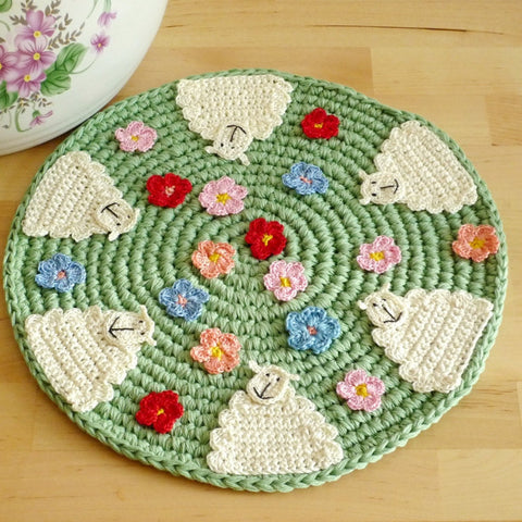 Sheep Kitchen Decor - Crochet Sheep Place Mat