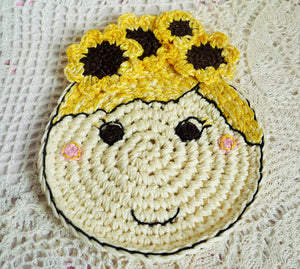 crochet sunflower doll coaster