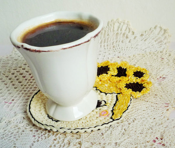 crochet coaster sunflower