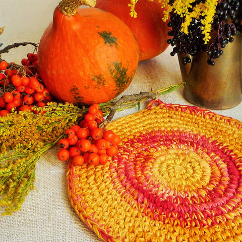 Crochet Pumpkin Orange Hot Pad - Autumn Table Decor