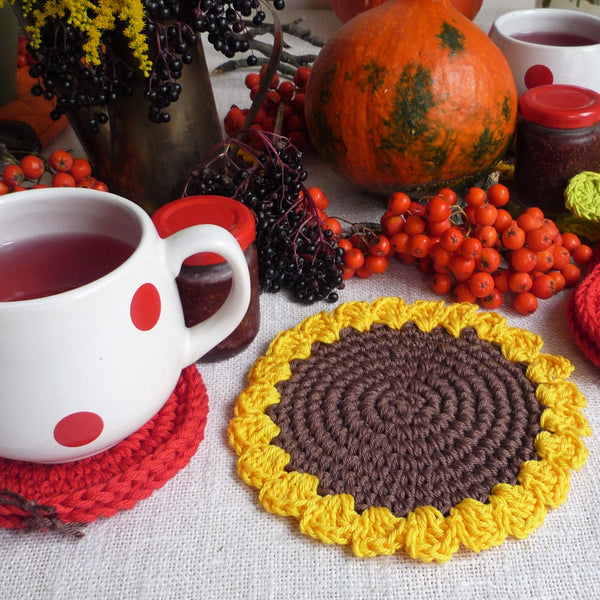 Sunflower Coaster Crochet Pattern - Pattern for Beginners