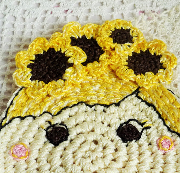 sunflower crochet coaster