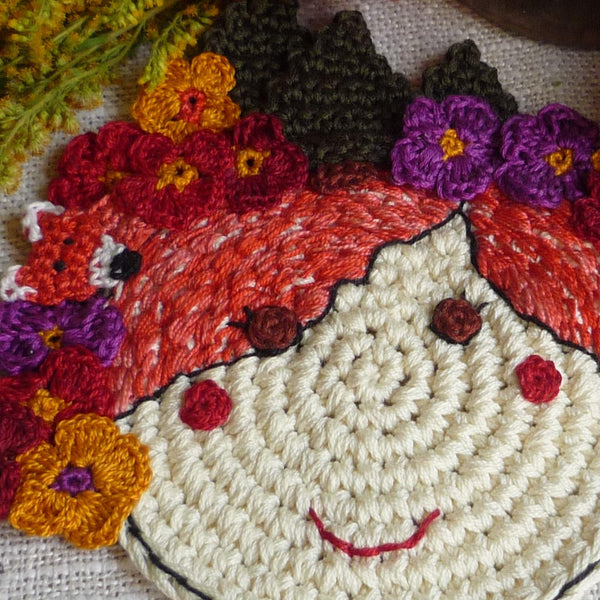 crochet fairy coaster