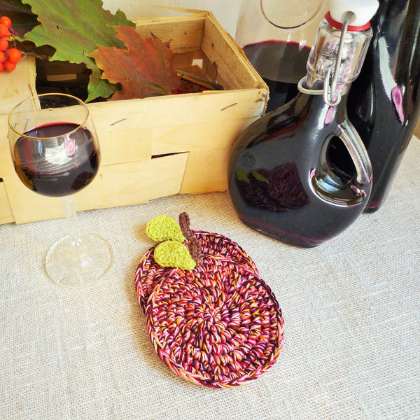 Purple Apple Crochet Coasters