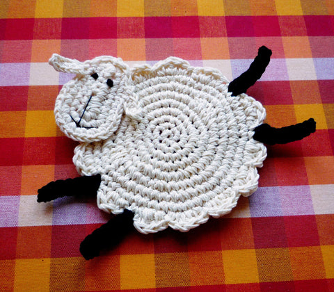 Sheep Kids Coaster - Crochet Sheep Coaster