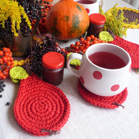 Crochet Red Pear Coasters - Rustic Table Decor - Set of 4