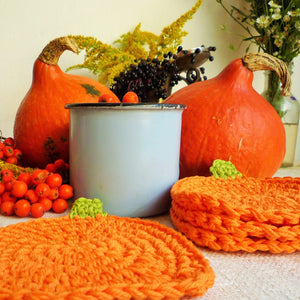 crochet pumpkin coasters monikacrochet