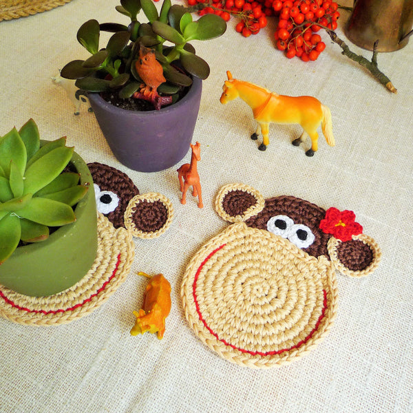 Monkey Coaster Crochet Pattern - Monika Crochet