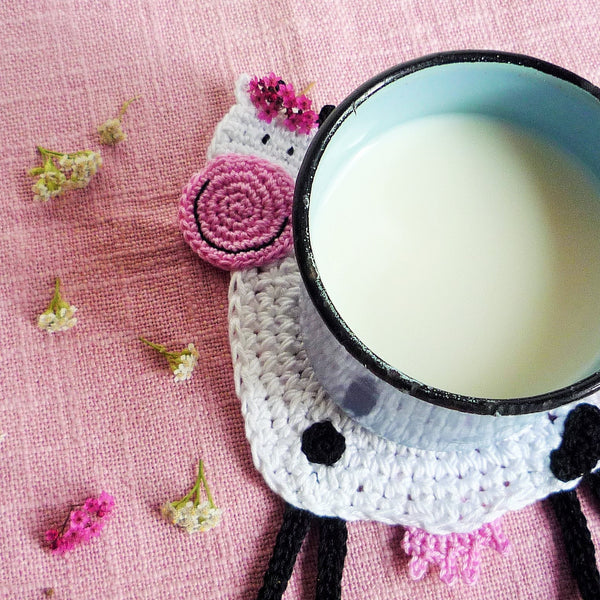 crochet cow coaster
