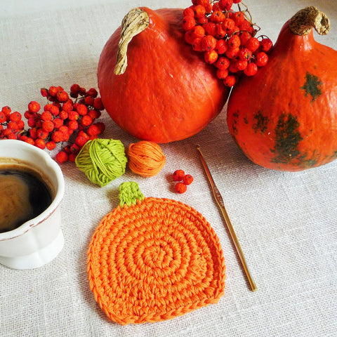 Orange Pumpkin Coaster Pattern - Crochet Pumpkin Rug Mug