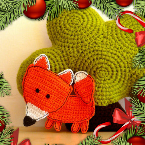 crochet orange fox coaster for kids