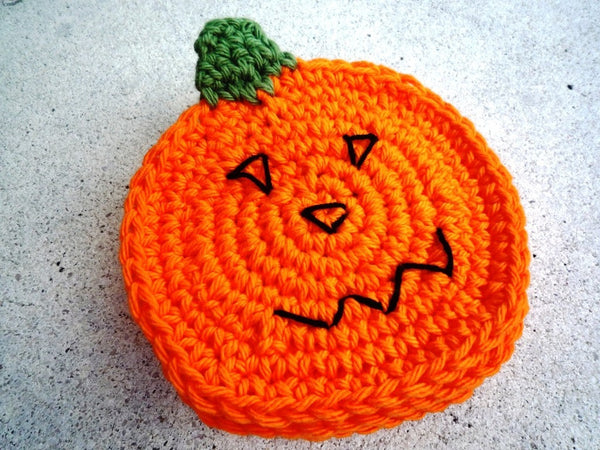 Crochet Pumpkin Coasters - Pumpkin Farmhouse Decor