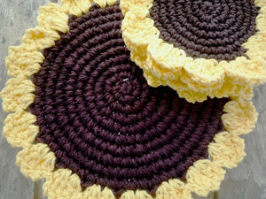 Sunflower Kitchen Decor - Crochet Sunflower Hot Pad