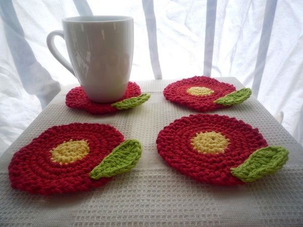 Red Flower Coasters - Flower Coasters