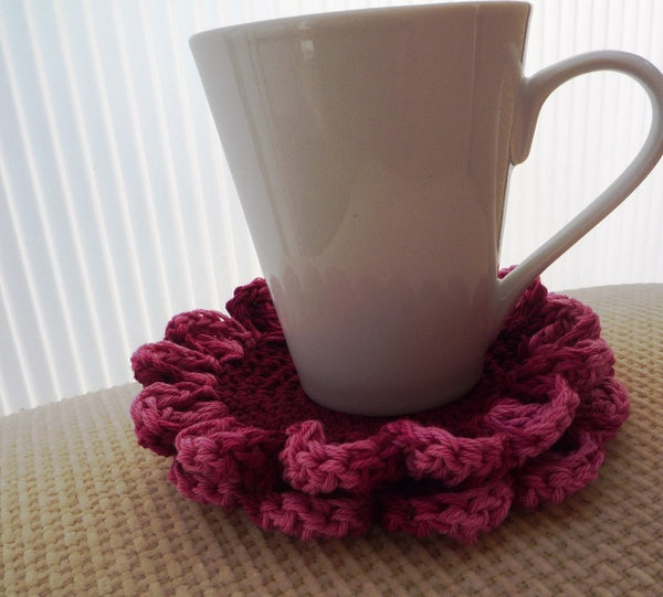 Crochet Burgundy Flower Coaster - MonikaCrochet - Set of 2