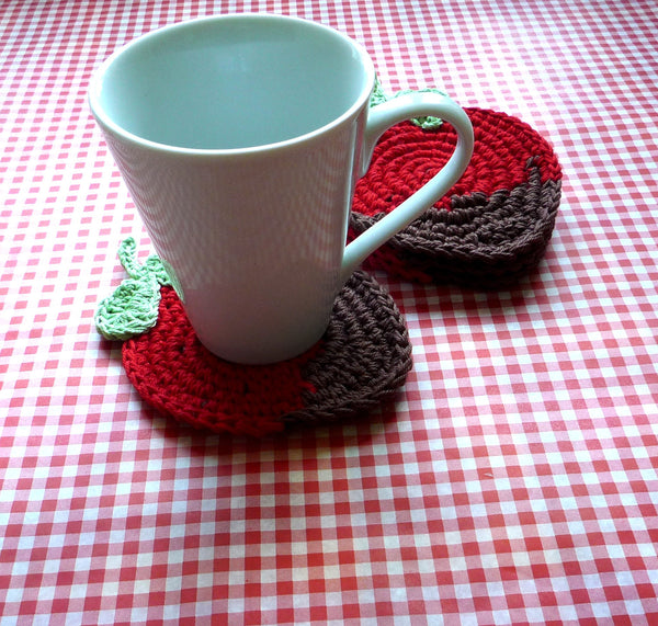 Strawberry in Chocolate Crochet Coaster Pattern
