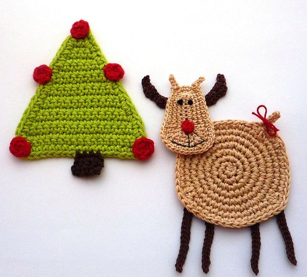 Christmas Reindeer Coaster Crochet Pattern for Beginners