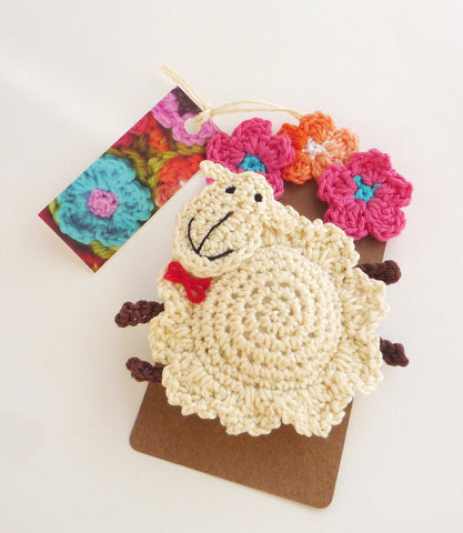 Crochet Sheep Ornament - Sheep Pin