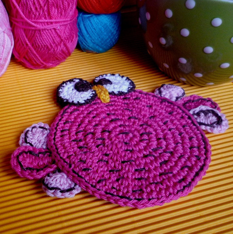 Double Faced Crochet Bird Coaster
