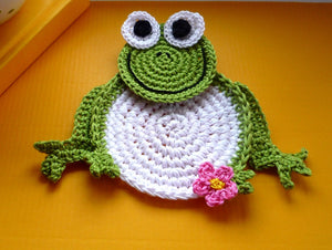 Frog Coaster Crochet Set of 2
