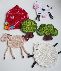 Farm Coaster Crochet Set of 6