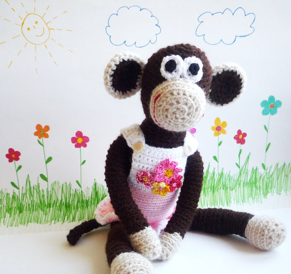 Monkey Matilda Crochet Toy with Removable Dress