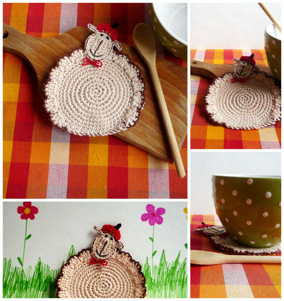 Sheep Coaster Crochet Pattern