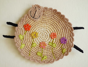 Lamb Hot Pad - Crochet Sheep Kitchen Decor