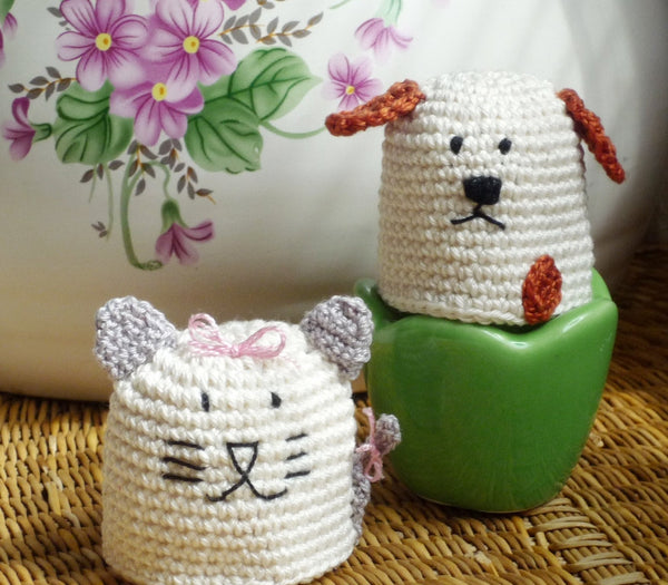 Egg Cozy Cat and Dog - Crochet Egg Cozy