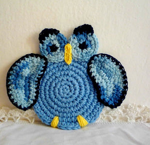 Blue Owl Crochet Coaster - Perfect Gift for Owl Lovers - Set of 2