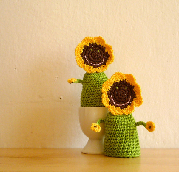 Sunflower Egg Cozies Crochet Set of 4