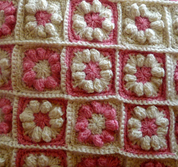 Decorative Flower Pillow - Granny Square Pillow Cover