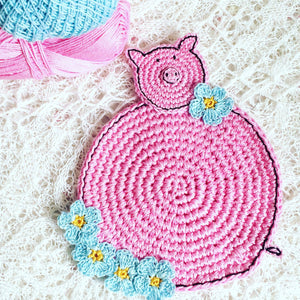 Crochet Pink Pig Coasters